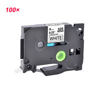 100pk Black On White Label Tape Tze211 Tz211 1/4and039and039 For Brother P-touch Pt-1890w
