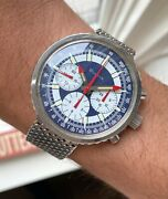 Vintage Bulova Chronograph Manual Wind Stars And Stripes Dial Valjoux 7736 Watch