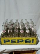 Vintage Wooden Pepsi Crate With 24 10 Oz Bottles