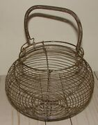 Vintage French Farmhouse Round Metal Wire Footed Egg Basket And Coil Spring Handle