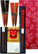 Kawai Japanese Wooden Chopsticks 2 Pairs And 2 Chopstick Rests Set In Gift...
