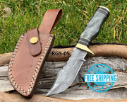 Custom Hand Forged Damascus Steel Knife Hunting Gray Resin And Brass Guard Handle