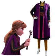 In Stock Frozen 2 Princess Anna Cosplay Costume Outfit Full Set Purple Cape