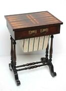 Antique Games Sewing Table, Victorian, Mahogany, Boxwood, Backgammon [ 6656 A ]