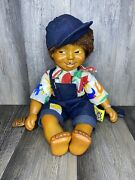 """1990's Naber Kids Eric 20"""" Hip Hop Handmade Doll Overalls With Patches"""