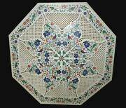 30 Inches Marble Coffee Table Top With Filigree Work Patio Table For Lawn Decor