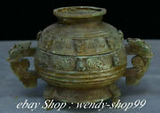 9 Old China Bronze Ware Dynasty Palace Beast Face Handle Incense Burners
