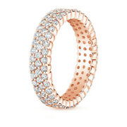 Round Cut 1.66 Ct Real Diamond Engagement Eternity Band 14k Rose Gold Size 7 8 9