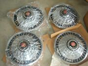 4 Nos Peugeot Spoke Chrome 15 Wheel Covers Hubcaps With Red Lion Crest