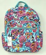 Nwt Vera Bradley Disney Mickey Mouse Friends Colorful Garden Campus Backpack A