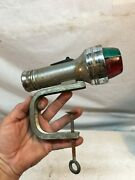 Vintage Boat Navigation Red / Green Bow Lights Clamp On Flashlight Parts Repair
