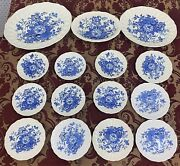 Vintage Royal Doulton 15 Pieces The Kirkwood Blue Plate Set Made In England