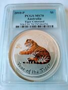 2010-p 1 Australia Year Of The Tiger 1oz Silver Colorized Pcgs Ms70 Pop 52
