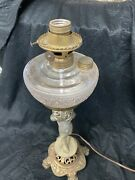 Victorian Figural Banquet Lamp Converted From Oil Glass Font Vintage