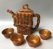 Natural Ox Horn Oxhorn Bamboo Leaf Tree Teapot Kettle Bottle Flagon Pot Cup Set