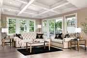 Made In Usa Sofa Loveseat Beige 2pc Sofa Set Tufted Couch Rolled Arms Solid Wood