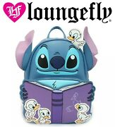 Loungefly Mini Backpack Disney Lilo And Stitch Water Ducklings Duck Book Blue New