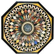 48 Inches Marble Dining Table Top Inlay Multi Color Stones Coffee Table For Home