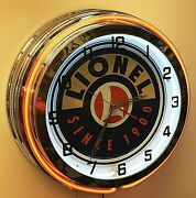 19 Lionel Trains Since 1900 Sign Orange Double Neon Clock Game Room Wall Decor