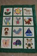 Large 57x45 Handmade Baby Infant Quilt Blanket Embroidered Heirloom Quality