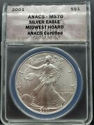 2001 Anacs Midwest Hoard Ms70 Silver Eagle S1 - Wood Presentation Box