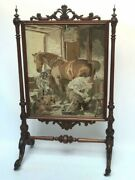Antique Victorian Carved Oak Fire Screen With Berlin Tapestry [ 7080 A ]