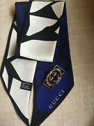 Authentic Silk Narrow Scarf With Monogrammed Buckle/closure