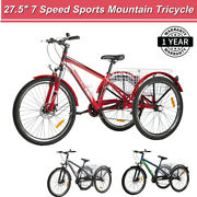 Adult Sports Mountain Tricycle 27.5-in 7 Speed 3 Wheel Bike With Storage Basket
