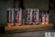 Brand New Nixie Tube Clock On In-18 With In-16 As Seconds Wooden Base, Handmade