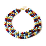 Vintage Mma Egyptian Revival Design Gold Plated Enamel Beaded Necklace