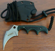 Crkt 2389 Folts Keramin Fixed Blade Neck Knife Black And Green Handle With Sheath