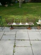 Lot Of 4 Vtg Antique Metal Wire Clam Fishing Baskets Fishing Nautical Planters