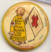 1897 Yellow Kid High Admiral Cigarettes 144 Pin - Red Cross Button - Ma727