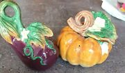 Fritz And Floyd Salt And Pepper Shakers Thanksgiving Fall Eggplant Pumpkin 1995