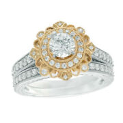 1-1/4 Ct Simulated Flower Frame Vintage-style Bridal Set In 14k Two-tone Gold