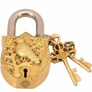 Brass Parrot Design Security Lock With 2 Keys| Used As Temple Home Hotel Office