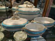 Royal Worcester - Vitreous - Teal Banded Tureens