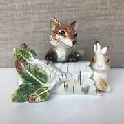 2002 Retired Fitz And Floyd High Sierra Fox And The Rabbit Salt And Pepper Shakers-nib