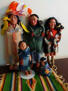 5 Skookum Native American Indian Family Dolls 1939 3 Adults-2 Label And 2 Children