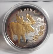 Alaska Mint Moose Tracks Gold And 1 Troy Oz Silver Medallion Coin Round Toned