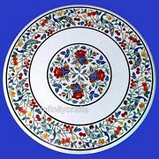 27 Inches Marble Coffee Table Top Inlay Floral Design Patio Table For Lawn Decor