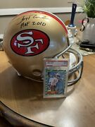 Jerry Rice Autograph Authentic Helmet Hof 2010 Inscribed W/ Rookie Card Nm 7