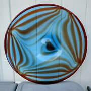Gorgeous 19 Hand Blown Cobalt Blue Orange And Red Art Glass Charger Wall Plate