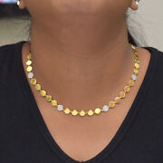 14k Yellow Gold Natural Diamond Collar Necklace Fine Womenand039s Wedding Jewelry