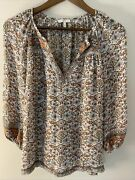 Joie Womens Top Blouse Size Small Beige Rust Floral Boho 100 Silk Peasant