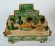 China Chinese Polychrome Pottery Offering Table 5 Offerings Ming Dynasty 16th C.