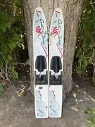 Vintage Wood Cut Nand039 Jump Youth Kidand039s Trainer Water Skis 44and039and039 Retro Waterskis