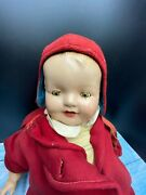 1915 Amberg Baby Glee Composition Doll With Open Mouth 2 Teeth Cloth Body 26 45