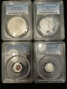 Pcgs 2015-p And W March Of Dimes Set, Ms70 And Pr70 Dcam 90 Silver, All Four Coins