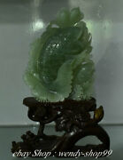 14 Chinese Natural Green Xiu Jade Carved Lotus Leaf Flower Fish Wealth Statue